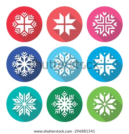 Christmas, winter snowflakes flat design icons set  - stock vector