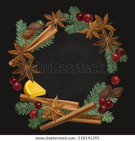Christmas winter spice decorative vector seamless stock for Spiced cranberry sauce with orange and star anise