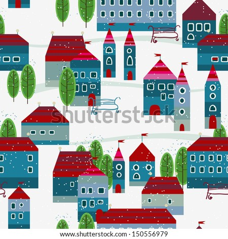 Christmas winter time city pattern background. Vector file layered for easy manipulation and custom coloring. - stock vector