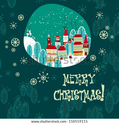 Christmas winter time town pattern background. Vector file layered for easy manipulation and custom coloring. - stock vector