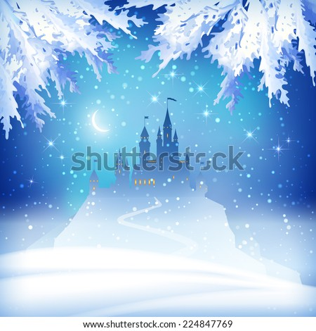 Christmas winter vector castle silhouette on the hill - stock vector