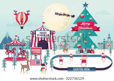 christmas winter wonderland template vector/illustration - stock vector