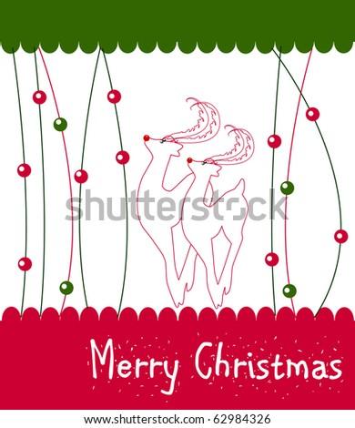 Christmas Wish Card Vector with Reindeer - stock vector