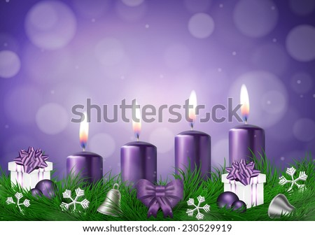 Christmas wish card  with candles  in purple vector illustration - stock vector