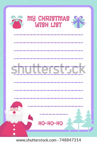 Christmas Wish List Template Flat Color Stock Vector