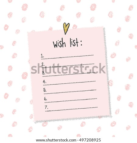 Christmas Wish List Template. Hand Drawn Elements. Printable Design.  Printable Wish List Template