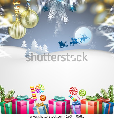 Christmas with gifts and Santa sleigh - stock vector