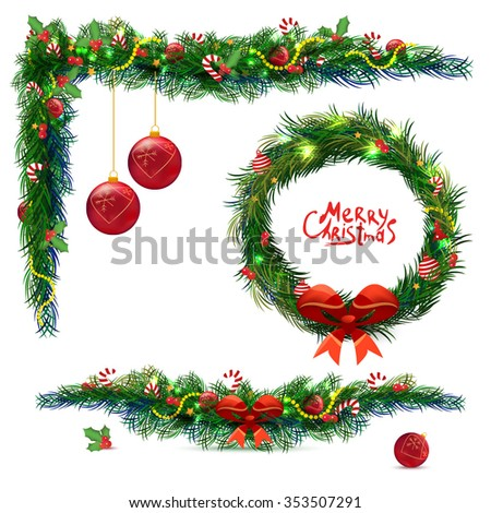 Christmas wooden background with fir branches and balls and wreath . Vector illustration. Set - stock vector