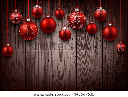 Christmas wooden background with red balls. Vector illustration. - stock vector