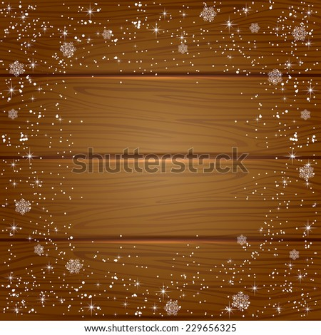 Christmas wooden background with snowflakes and stars, illustration. - stock vector