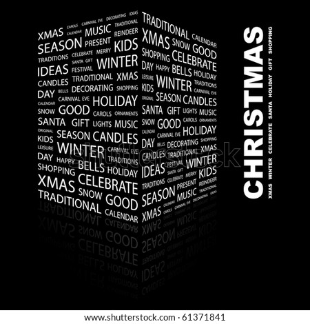 CHRISTMAS. Word collage on black background. Illustration with different association terms. - stock vector