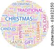 CHRISTMAS. Word collage on white background. Illustration with different association terms. - stock