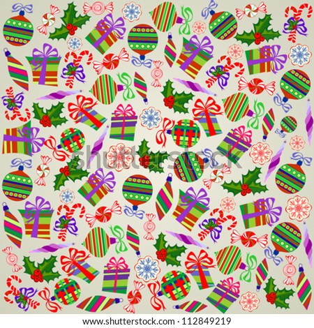 Christmas Wrapping Paper with Holly Berries, Snowballs, Snowflakes, Sweets and Gift Boxes on Pink Background
