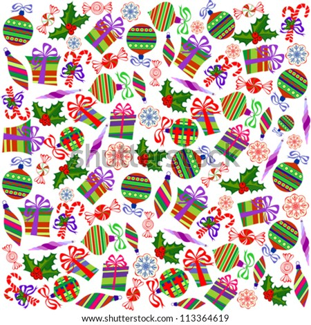 Christmas Wrapping Paper with Holly Berries, Snowballs, Snowflakes, Sweets and Gift Boxes on White Background
