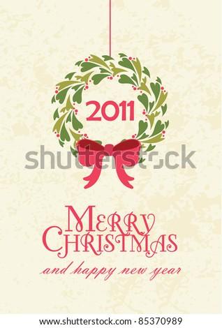Christmas wreath card - stock vector