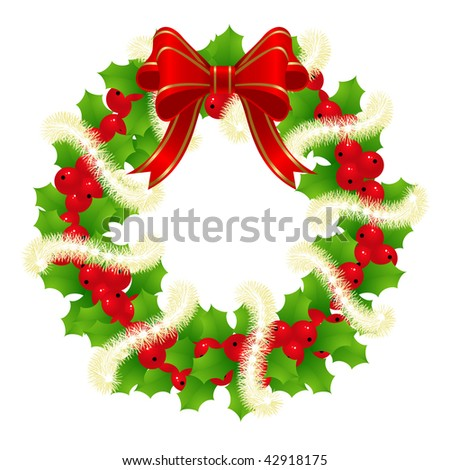 Christmas Wreath for Winter Holydays Designs. Vector illustration.