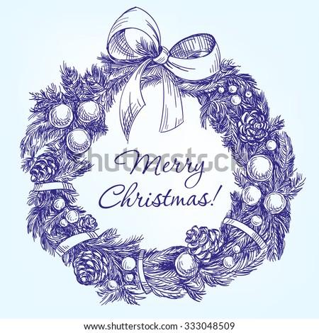 christmas wreath hand drawn vector llustration  realistic  sketch - stock vector