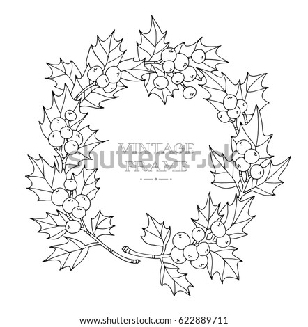 Christmas Wreath Holly Berries Vector Artwork Coloring Book Page For Adult Black