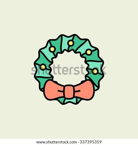 Christmas wreath icon. Vector icons. Linear style - stock vector