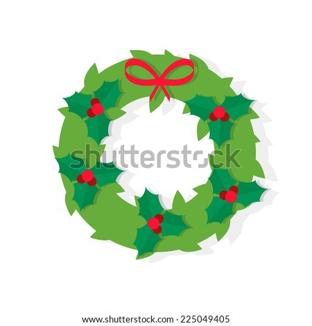 Christmas wreath icon with red bow in flat design style, vector illustration - stock vector
