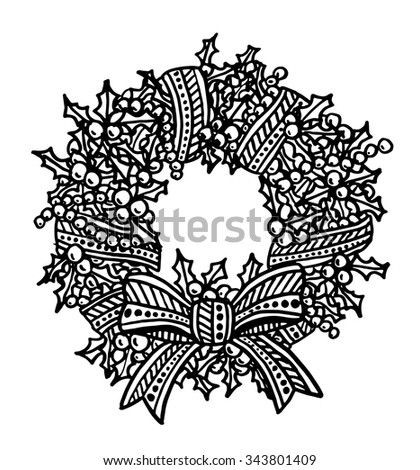 Christmas wreath intricate hand drawn coloring page illustration. Black and white zentangle