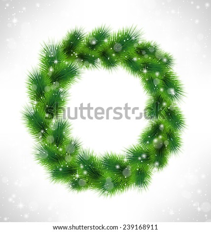 Christmas wreath like frame in snowfall on grayscale background - stock vector