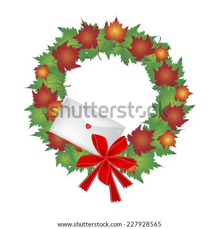Christmas Wreath of Autumn Maple Leaves in Red, Orange and Green Colors with Lovely Envelope, Sign for Christmas Celebration.  - stock vector