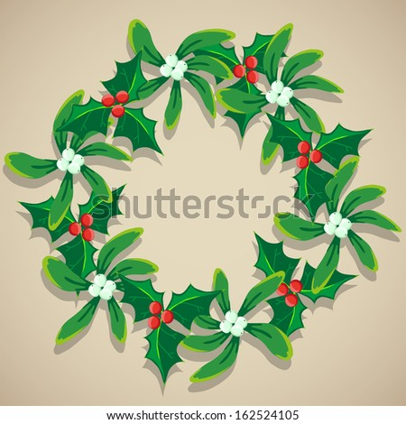 Christmas Wreath of Mistletoe - stock vector