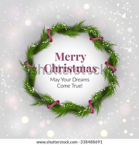 Christmas wreath on light background with sparkles. Vector illustration. EPS 10 - stock vector