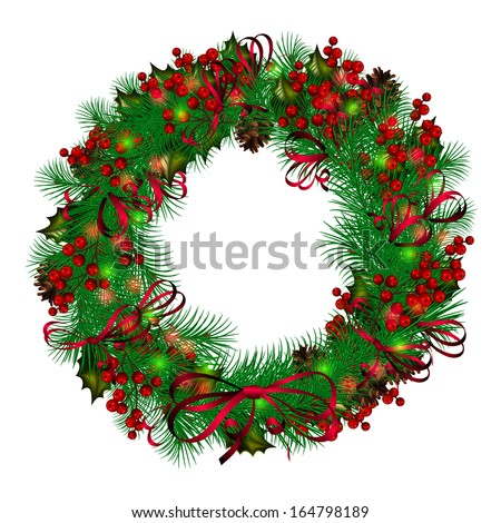 Christmas wreath on white background - stock vector