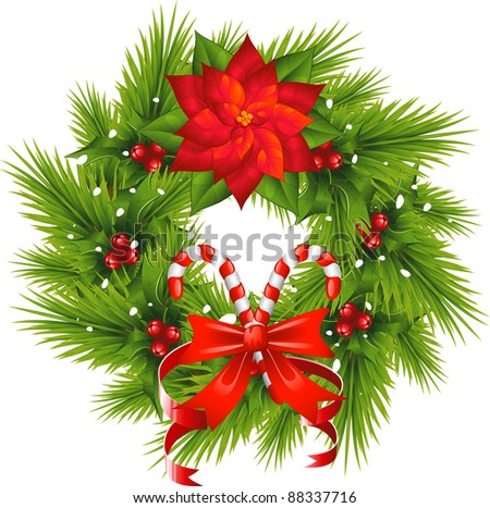 Christmas Wreath over white - stock vector
