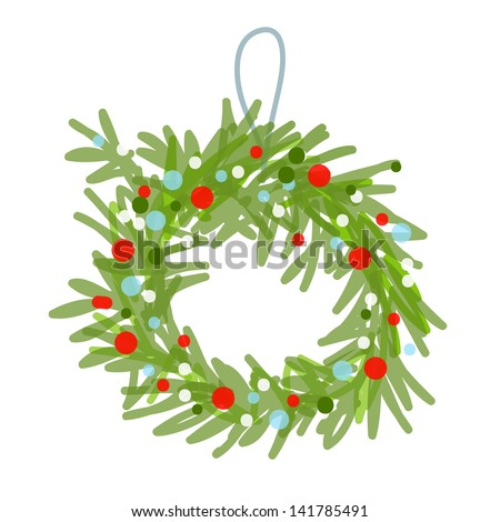 Christmas wreath sketch for your design - stock vector