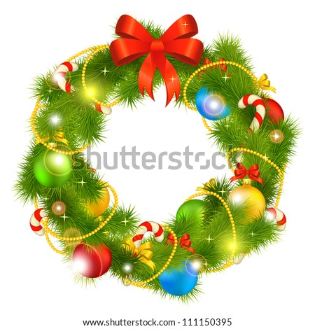 christmas wreath vector - stock vector