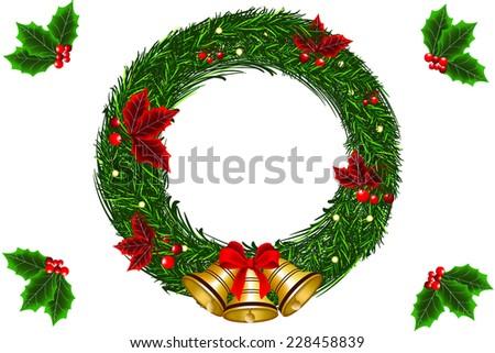 christmas wreath vectors - stock vector