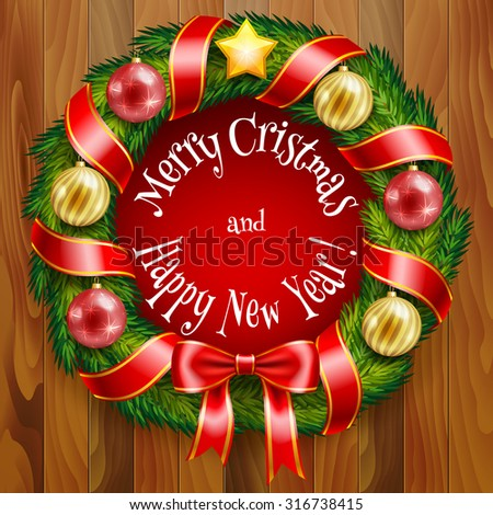 Christmas wreath with baubles and ribbons in vector format - stock ...
