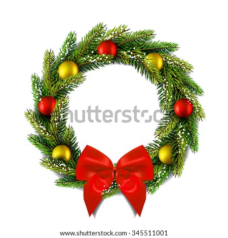 Christmas wreath with bow.