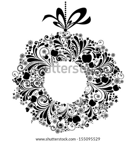 Christmas wreath with  bow isolated on white background. Vector illustration - stock vector