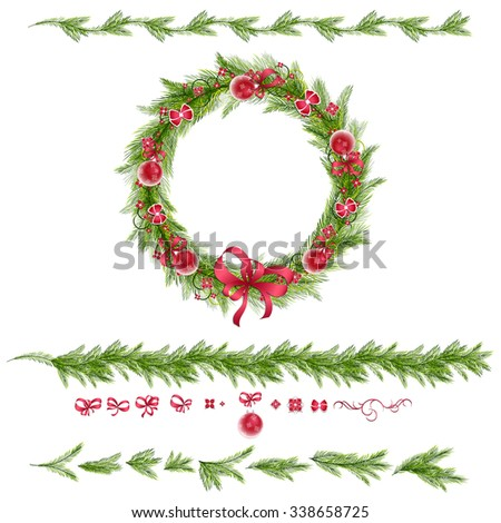 Christmas wreath with christmas balls, abstract flowers. Christmas borders. Set of christmas pine twigs and holiday decorations: balls, tapes and bows. Vector, EPS 10.  - stock vector