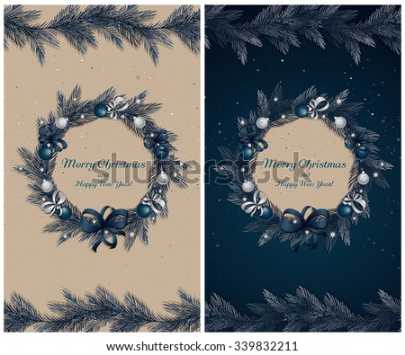 Christmas wreath with decorations: balls, ribbons and stars. Christmas pine twigs and spruce branches. Christmas border with holiday decorations. Set of two greeting cards. Vector, EPS 10. - stock vector