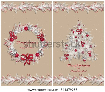 Christmas wreath with decorations: balls, ribbons and stars. Christmas tree. Christmas pine twigs and spruce branches. Christmas border. Set of two greeting cards. Vector, EPS 10. - stock vector