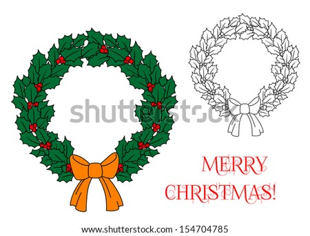Christmas wreath with holly and berries for holiday design. Jpeg version also available in gallery - stock vector