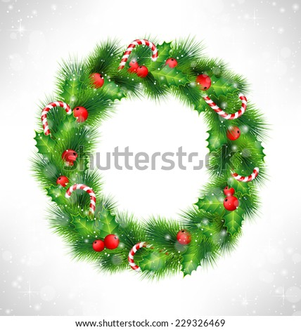 Christmas wreath with holly sprigs, pine branches and candy canes in snowfall on grayscale background - stock vector