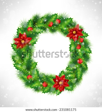 Christmas wreath with holly sprigs, pine branches and flowers of poinsettia in snowfall on grayscale background - stock vector