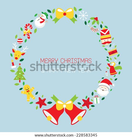 Christmas Wreath with Icons, Objects - stock vector