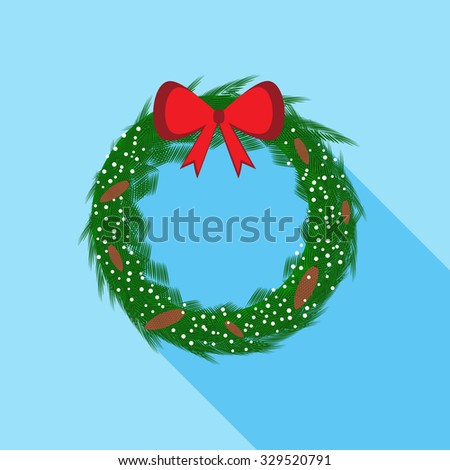 Christmas wreath with red bow. Flat design icon