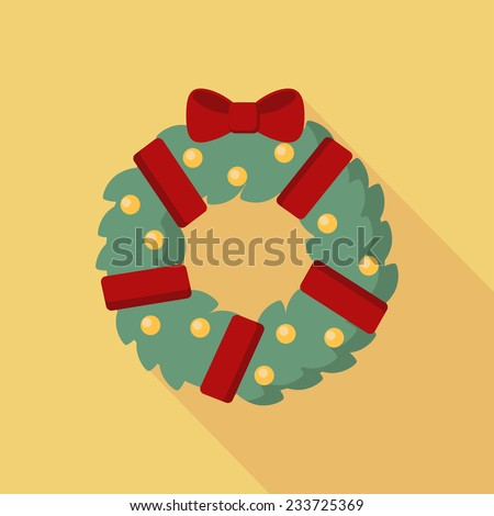 Christmas wreath with red bow icon with long shadow. Vector illustration minimal flat design.  - stock vector