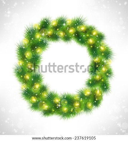 Christmas wreath with yellow glassy led Christmas lights garland like frame in snowfall on grayscale background - stock vector