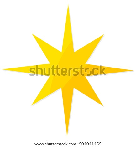 Christmas yellow star flat design icon illustration