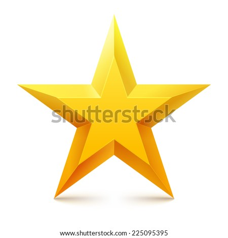 Christmas yellow star on white background. Vector illustration.