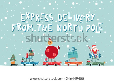 Christmass Gifts For Children On The Car. Vector Illustration